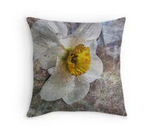 Daffodil in Grunge Throw Pillow