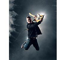 Rock and Roll Guitarist jumping Photographic Print