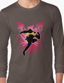 Super Smash Bros. Pink Captain Falcon Silhouette Long Sleeve T-Shirt