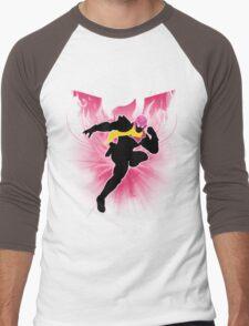 Super Smash Bros. Pink Captain Falcon Silhouette Men's Baseball ¾ T-Shirt