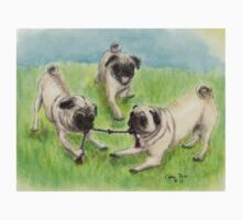 Pug Dogs Tug of War Animal Cathy Peek Kids Tee