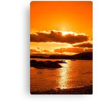 wild atlantic way ireland with an orange sunset Canvas Print