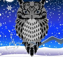 Eartheerian Baroque Grey/Gray Owl ~ Christmas Card by Sam Stormborn Ormandy