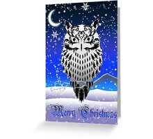 Eartheerian Baroque Snowy White Owl ~ Christmas Card Greeting Card