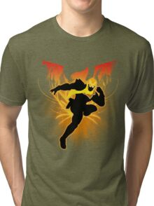 Super Smash Bros. Gold/Yellow Captain Falcon Silhouette Tri-blend T-Shirt