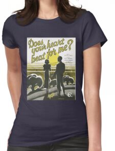 DOES YOUR HEART BEAT FOR ME? (vintage illuetration) Womens Fitted T-Shirt