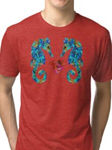 Sea Lovers - Seahorse Beach Art by Sharon Cummings Tri-blend T-Shirt