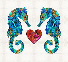 Sea Lovers - Seahorse Beach Art by Sharon Cummings by Sharon Cummings