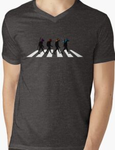 Turtle Road (Black and White) Mens V-Neck T-Shirt
