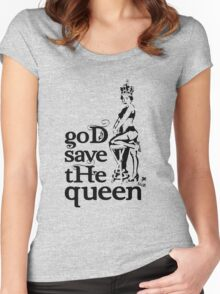 Hot Queen stencil, God save the queen Women's Fitted Scoop T-Shirt