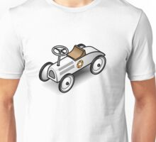 A retro vintage race cart. WIth drop shadow for a white shirt only. Unisex T-Shirt