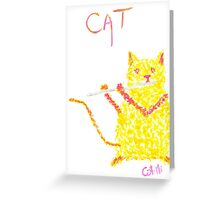 Yellow Cat Playing Flute Greeting Card