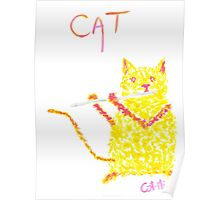 Yellow Cat Playing Flute Poster