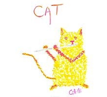 Yellow Cat Playing Flute Photographic Print