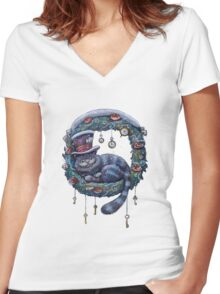 Alice Cheshire Cat Christmas Women's Fitted V-Neck T-Shirt