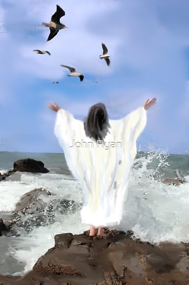 Christ by the ocean by John Ryan