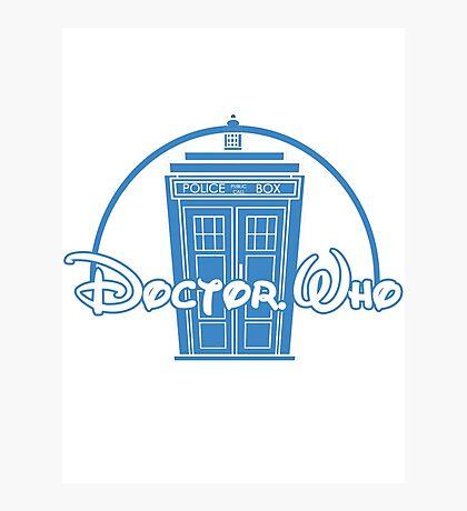 """Doctor Who"" Tardis Police Box Disney Logo Style Spoof Photographic Print"