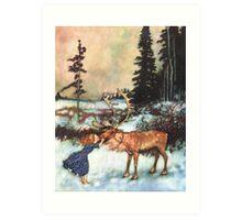Reindeer Kiss christmas design Art Print