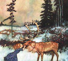 Reindeer Kiss christmas design by Vintage Designs