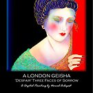 A London Geisha 'Despair' Three Faces Of Sorrow, Titled Greeting Card by luvapples downunder/ Norval Arbogast
