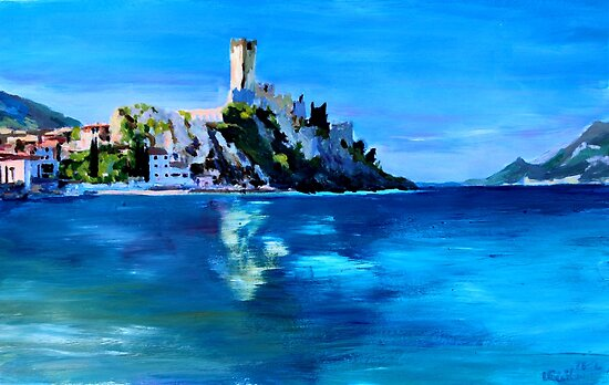 Malcesine with Castello Scaligero by artshop77