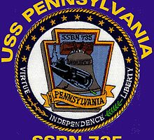 USS Pennsylvania (SSBN-735) Crest for Dark Colors by Spacestuffplus
