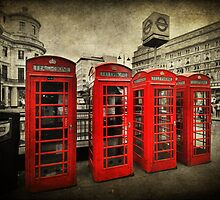 4 Red Phone Booths by Yhun Suarez