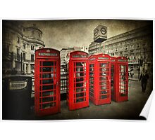 4 Red Phone Booths Poster