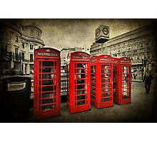 4 Red Phone Booths Photographic Print