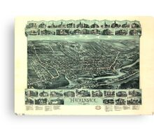 Panoramic Maps Hackensack New Jersey Canvas Print