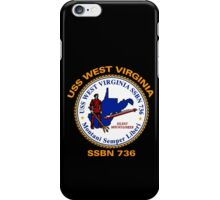 USS West Virginia (SSBN-736) Crest for Dark Colors iPhone Case/Skin