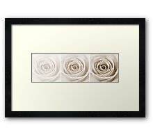Sepia Rose with Water Droplets Triptych Framed Print