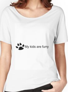 My Kids Are Furry (Dog Paw) Women's Relaxed Fit T-Shirt