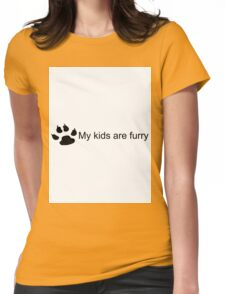 My Kids Are Furry (Dog Paw) Womens Fitted T-Shirt