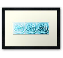 Turquoise Rose with Water Droplets Triptych Framed Print