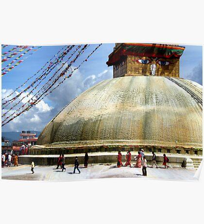 Circumambulating the Stupa Boudha Poster