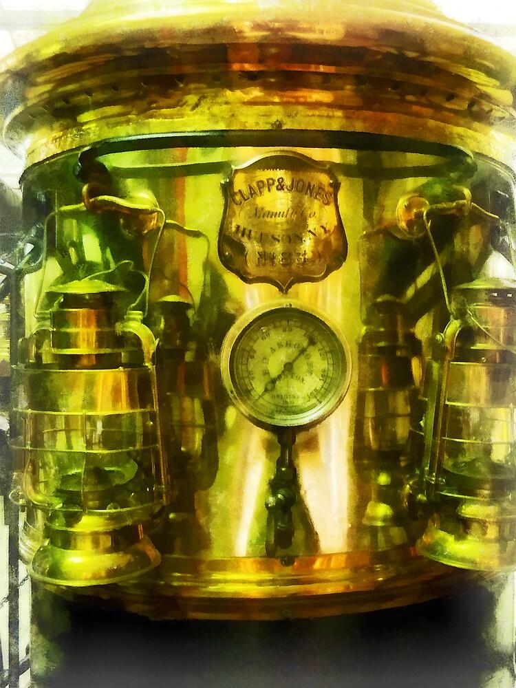 Steampunk - Gauge and Two Brass Lanterns on Fire Truck by Susan Savad