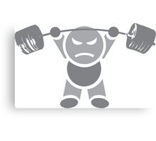 Cute Weightlifting Cartoon Robot Canvas Print