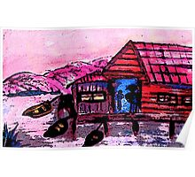 The Boathouse #4, watercolor Poster
