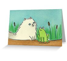 Cat Meets Frog Greeting Card