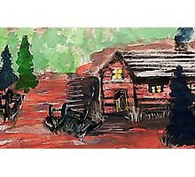 Cabin in the woods, watercolor Photographic Print