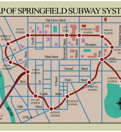 Springfield Subway System Map Sticker