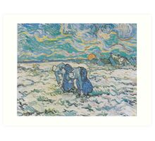 Two Peasant Women Digging in a Snow-Covered Field at Sunset by Vincent van Gogh Art Print