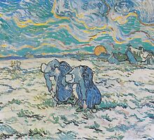 Two Peasant Women Digging in a Snow-Covered Field at Sunset by Vincent van Gogh by Robert Partridge
