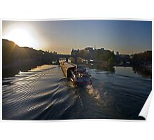 An early morning barge on the Seine. Poster