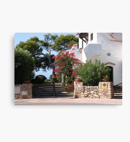 House And Garden In Cala Galdana  Canvas Print