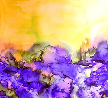 INTO ETERNITY, YELLOW AND LAVENDER PURPLE Colorful Watercolor Painting Abstract Art Floral Landscape Nature Fine Art by EbiEmporium