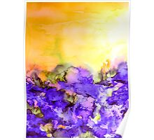 INTO ETERNITY, YELLOW AND LAVENDER PURPLE Colorful Watercolor Painting Abstract Art Floral Landscape Nature Fine Art Poster