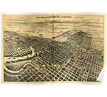 Panoramic Maps View of the city of Stockton the Manufacturing City of California Poster