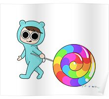 Blue Bear loves candy Poster